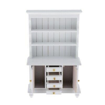 1:12 Wooden 3-layer Kitchen Cupboard w/Drawer Door Dollhouse Furniture White