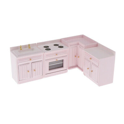 Miniature Wooden Kitchen Cabinet Set Stove Sink for 1/12 Dollhouse Furniture