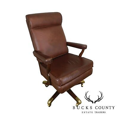 Gunlocke Brown Leather Executive Desk Chair