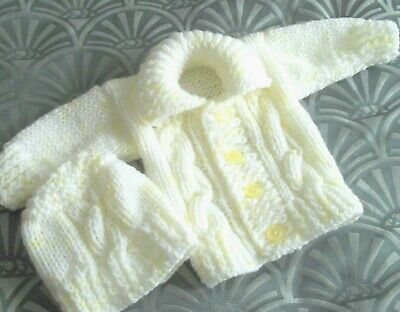 lovely hand knitted baby white/lemon   jacketh/at 0-3 month baby girl/boy reborn