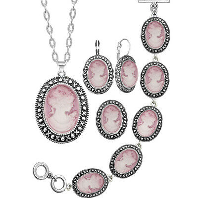 Lady Cameo Sets For Women Cameo Necklace Earring Ring Bracelet Jewelry Set