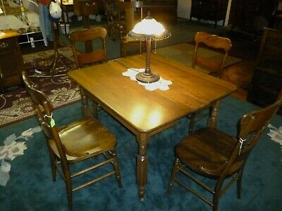 antique OAK chairs Set of 3 solid seat restored refinished 1900's