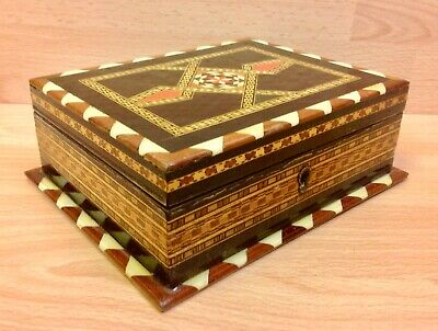 Victorian Tunbridge Ware Locking Jewellery Box.