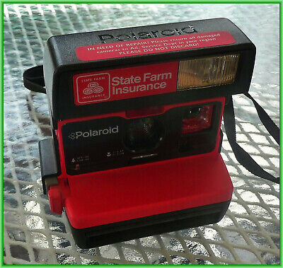 Polaroid 600 Business Edition Vintage Camera State Farm Insurance Red - Works!