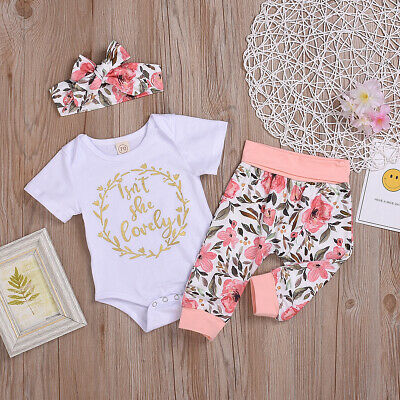 Newborn Toddler Kids Baby Girls Clothes Short Sleeve Romper Floral Pants Outfits