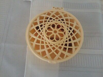 Vintage Plastic Sewing Basket Thread Holder, W Wooden Spools of Thread Included