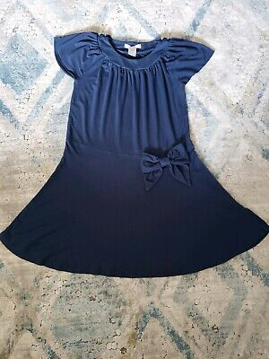 Janie & Jack Blue Girls Dress Cap Sleeve with Bow & Gold Buttons Drapey Size 6