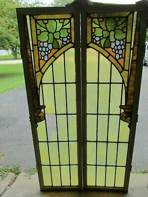 Pair Of Antique Stained Glass Windows Set