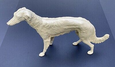 VNTG Antique Hubley Cast Iron Russian Wolfhound Borzoi Dog Door Stop #211 White
