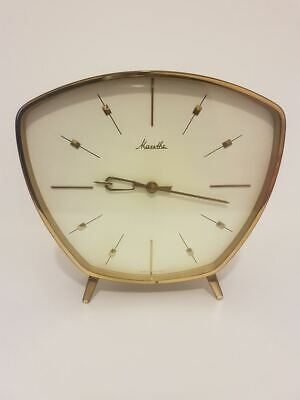 Gorgeous Mauthe Mantel Clock Table Mechanical M. Gong Brass 50s 60s