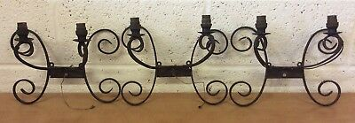 Lovely Vintage Wrought Iron Wall Lights, 3 Matching Sets of Pairs, Solid Rustic