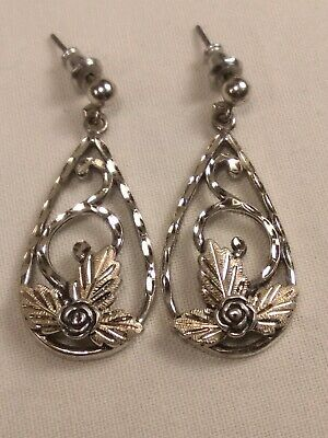 Vintage Wheeler Manufacturing Sterling Silver Grape Leaves Flower Drop Earrings