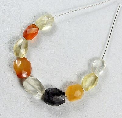 NATURAL MULTI GEMSTONE FACETED OVAL BEADS 13.90CTS 9pcs