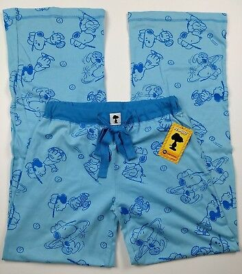 Registered Peanuts Baseball Pajama Lounge Blue Lucy Snoopy Pants 100/% Cotton