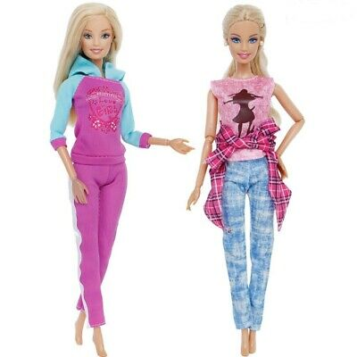 2 Pcs/ Lot Barbie Doll Clothes Fashion Handmade Daily Sports Pants Outfit 11 in