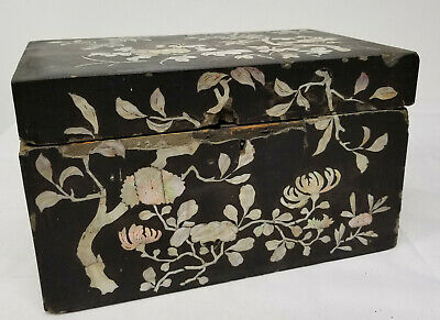 Antique Early Japanese Korean Chinese Mother of Pearl Lacquer Box Chest As Is