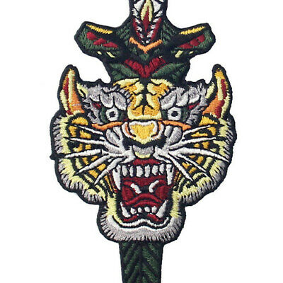 Embroidered Patches Iron Sew On transfers Badges appliques Tiger & Dagger 625R