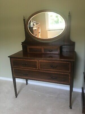 Victorian/Edwardian Antique Dressing Table w. Drawers and oval tilting Mirror