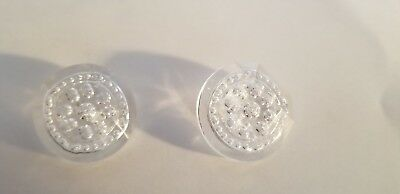Lot of 2 Vintage Chanel clear  CC logo Buttons 25 mm-1.1 inch