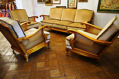 Antike englische Sitzgarnitur Chippendale Sessel Couch Chaiselounge 4 tlg *1591