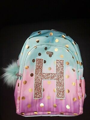 NWT JUSTICE GIRLS OMBRE FOIL DOT INITIAL H BACKPACK Full Size