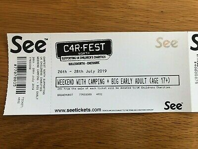 2 x Adult CARFEST NORTH WEEKEND TICKETS WITH CAMPING AND PARKING. Early Entry