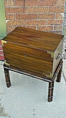 Oriental Vintage style wood footed accent table trunk chest