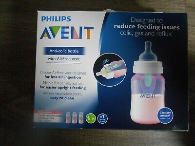 3 Philips Avent Anti-Colic Plastic Pink Baby Bottle, 9oz NEW