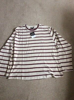 Bnwt Ladies Cream With Stripes Topshop Maternity Long Sleeve Cotton Top Sz 18