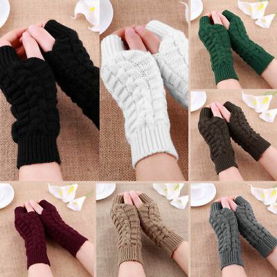 Women Ladies Winter Warm Fingerless Wrist Arm Gloves Knitted Soft Hand Mitten