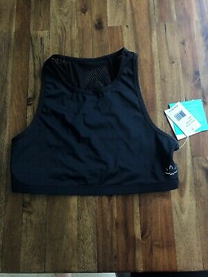 94fcaa0f SAUCONY SPORTS BRA NWT new dark navy L Large cute mesh front womens ...