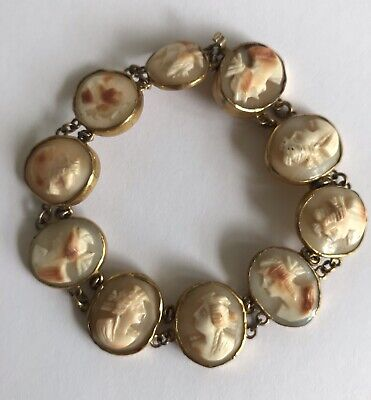 ANTIQUE VICTORIAN CARVED CAMEO PANEL BRACELET - 19th C. ITALY GRAND TOUR