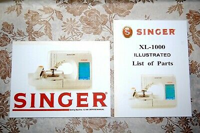 2-Book Library of Service Manuals for Singer Sewing Machines of Class XL-1000