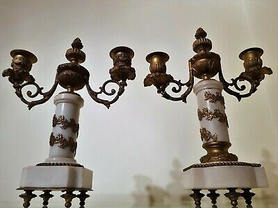 Antique French Ormolu and Marble 2 Branch Candelabras Mantel Clock Garniture.