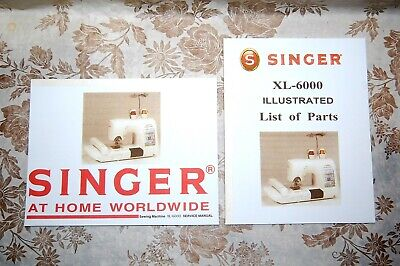 2-Book Library of Service Manuals for Singer Sewing Machines of Class XL-6000