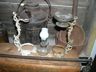 Antique 1885 Vapo Cresoline Lamp Burner W/ Wick, Ex Stand, Chipped Globe, Solid