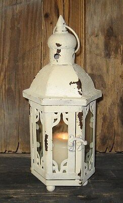 Farmhouse Antique White LANTERN Candle Holder*Primitive/French Country Decor*New