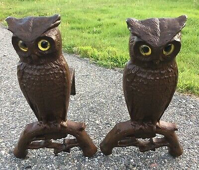 Pair of Vintage Antique Cast Iron Owl Fireplace Andirons - Yellow Glass Eyes