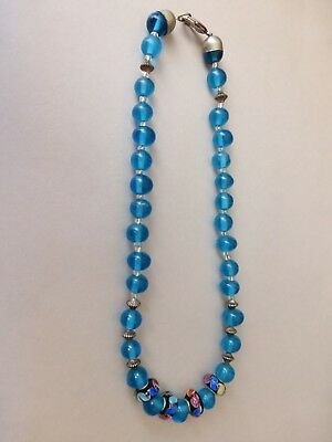 Vintage  Hand Crafted Unique Necklace  Round Blue Glass Beads 42 Cm
