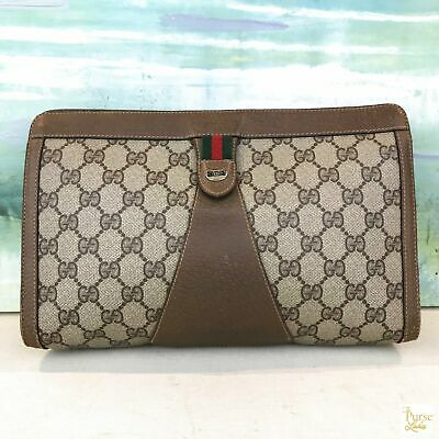 9a3d2c7239f3e $340 GUCCI BROWN GG Web Coated Canvas Vintage Cosmetic Case Pouch Bag Stripe