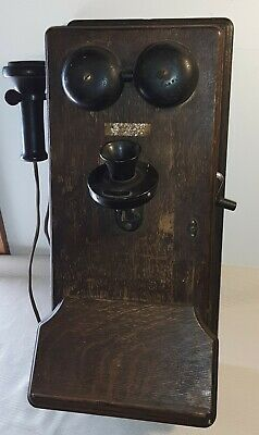 Antique Oak Western Electric Co. Wall Telephone Hand Crank