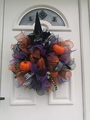 Large Halloween decoration door Wreath Decomesh Suitable For Indoor And...