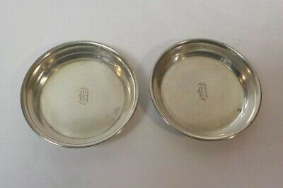 "Pair Sterling Silver Butter Pats, Monogram ""R"""