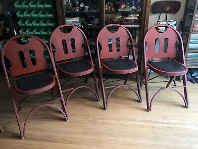 "Qty 4 ~ Louis Rastetter Sons ""Solid Kumfort"" Red Antique Bentwood Folding Chairs"