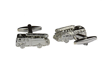 Fire Engine Cufflinks For Men Silver Vehicle Work Wedding Black Tie Shirt