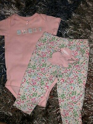 Baby Girls Infants Newborn Two Piece Outfit Set Sweet Pink Bodysuit Floral Pants