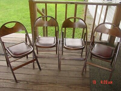 Set Of 4 Vintage Cornell-Dibble Curved Back Funeral Chairs Folding Parlor