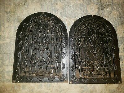 Lot of 2 Antique Cast Iron Arch Floral Heat Grate Wall Register 10X14 Dome Vtg