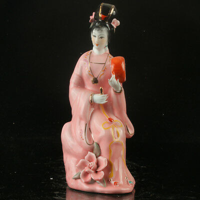 Chinese Porcelain Handwork Carved Beauty Pattern Statue RC013