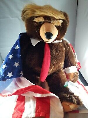 GENUINE Trumpy Bear Deluxe w Certificate Of Authenticity & American Flag Blanket